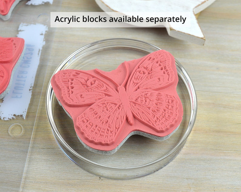 Tim Holtz Flutter Cling Stamps by Stampers Anonymous 10 Butterfly Moth Rubber Stamp Set