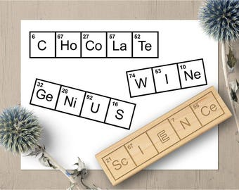 Periodic Table Word Stamps, Science Gift, Science Teacher Stamp, Chemistry Gift, Caffeine Stamp, Science Stamp, Chocolate Stamp, Geek 56