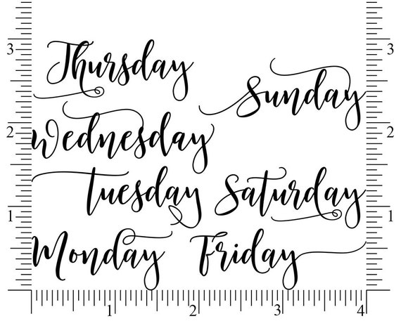 weekday planner stamps day of the week rubber stamp set etsy