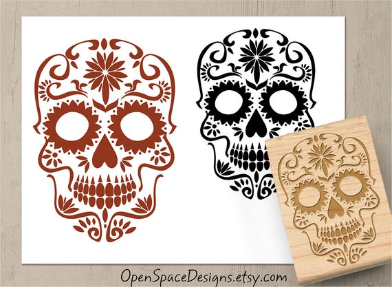 Sugar Skull Stamp Halloween Day Of The Dead