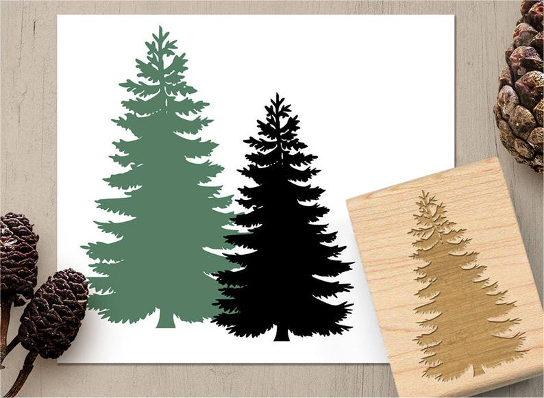 Pine Tree Stamp Evergreen Stamp Conifer Stamp Forest Woods Etsy