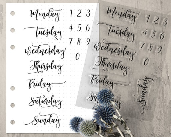 Weekday Bullet Journal Stamps Clear Planner Stamps With Days Of The Week And Numbers In Modern Calligraphy Rubber Stamp Set