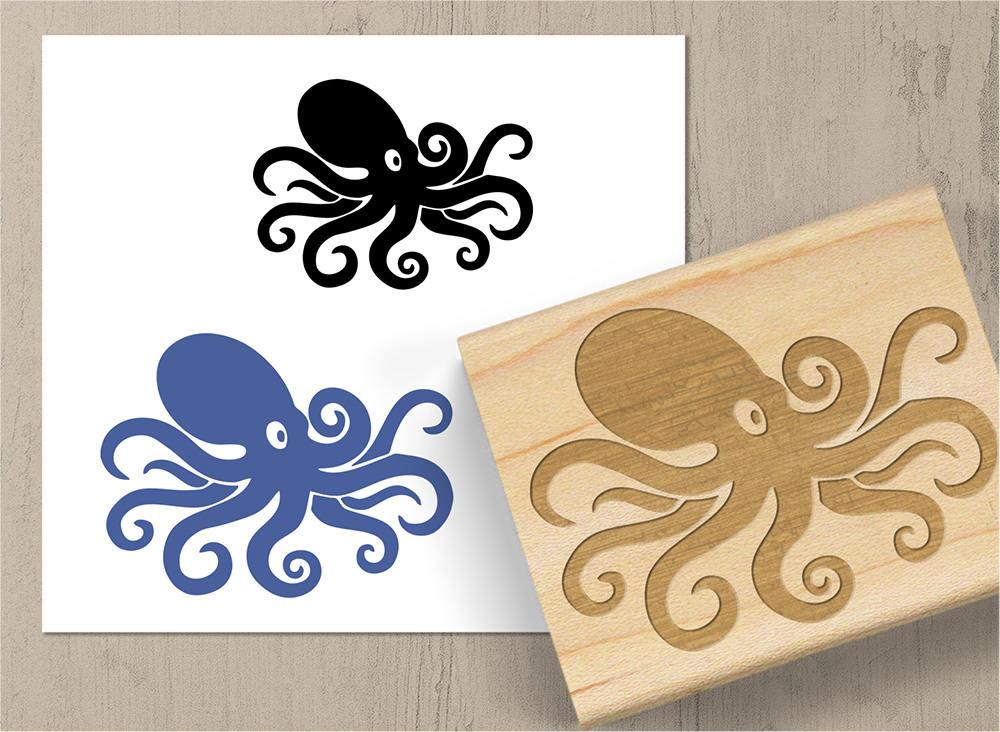 Octopus Rubber Stamp Marine Squid