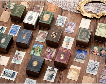 Mini Cards for Junk Journal Supplies. Botanical Ephemera, Postage Stamp, and Vintage Art and Document Designs, Travelers Notebook Collages