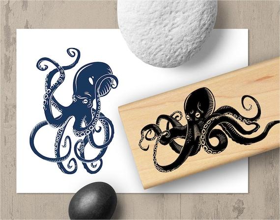 Octopus Stamp Squid Marine Ocean Rubber