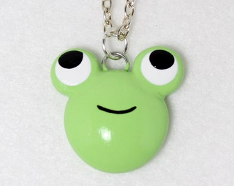 Cute Green Frog Necklace - Polymer Clay Necklace - Frog Jewelry - Cute Frog Pendant - Polymer Clay Jewelry - Animal Jewelry