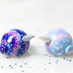 Galaxy Narwhal Figurine - Polymer Clay Totem Animal Sculpture - Kawaii Pastel Narwhal - Space Whale Miniature