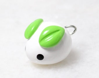 Kawaii Mochi Bunny Charm - Polymer Clay Charm - Kawaii Snow Bunny Phone Charm - Anime Charm - Polymer Clay Jewelry