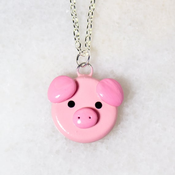 CORD OR CHAIN NECKLACE CUTE LITTLE SPARKLY PINK PIGLET PENDANT