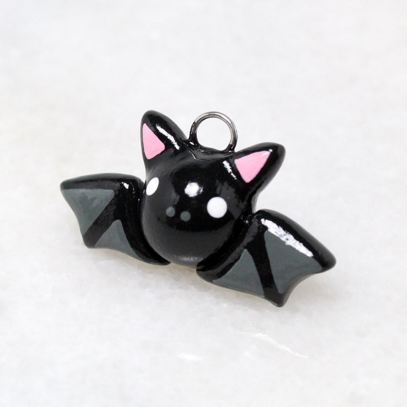ee31703fdfb0 Black Bat Charm - Polymer Clay Halloween Charm - Bat Phone Charm -  Halloween Phone Charm - Polymer Clay Bat Jewelry