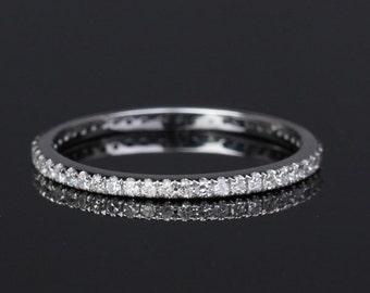 Custom Made VS G Pave Diamonds Solid 14K White Gold Eternity Wedding Band