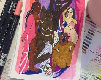 Les Demoiselles d'Avignon by Picasso - Original Illustration