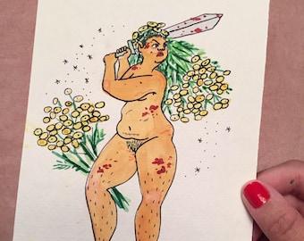 Tansy Goddess, Symbolic of a Declaration of War - Original Illustration
