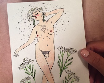 Yarrow Goddess, Symbolic of Healing and Inspiration - Original Illustration