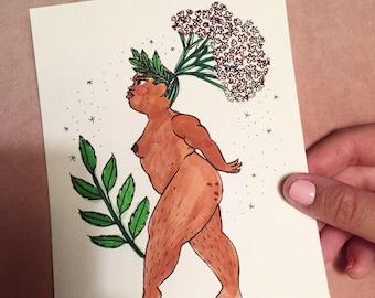 Valerian Goddess, Symbolic of Readiness - Original Illustration