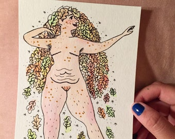 Oak Leaf Goddess, Symbolic of Strength - Original Illustration