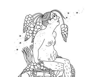 Printable Nature Goddess Coloring Pack - Digital Download