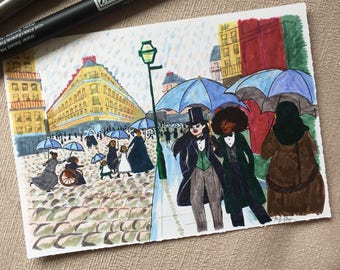 Paris Street; Rainy Day by Caillebotte - Original Illustration