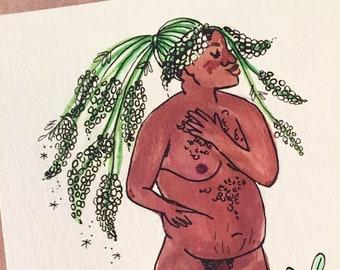 Mignonette Goddess, Symbolic of Worth - Original Illustration