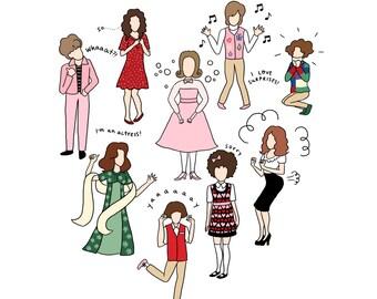 Kristen Wiig Characters Print - Hand-Illustrated