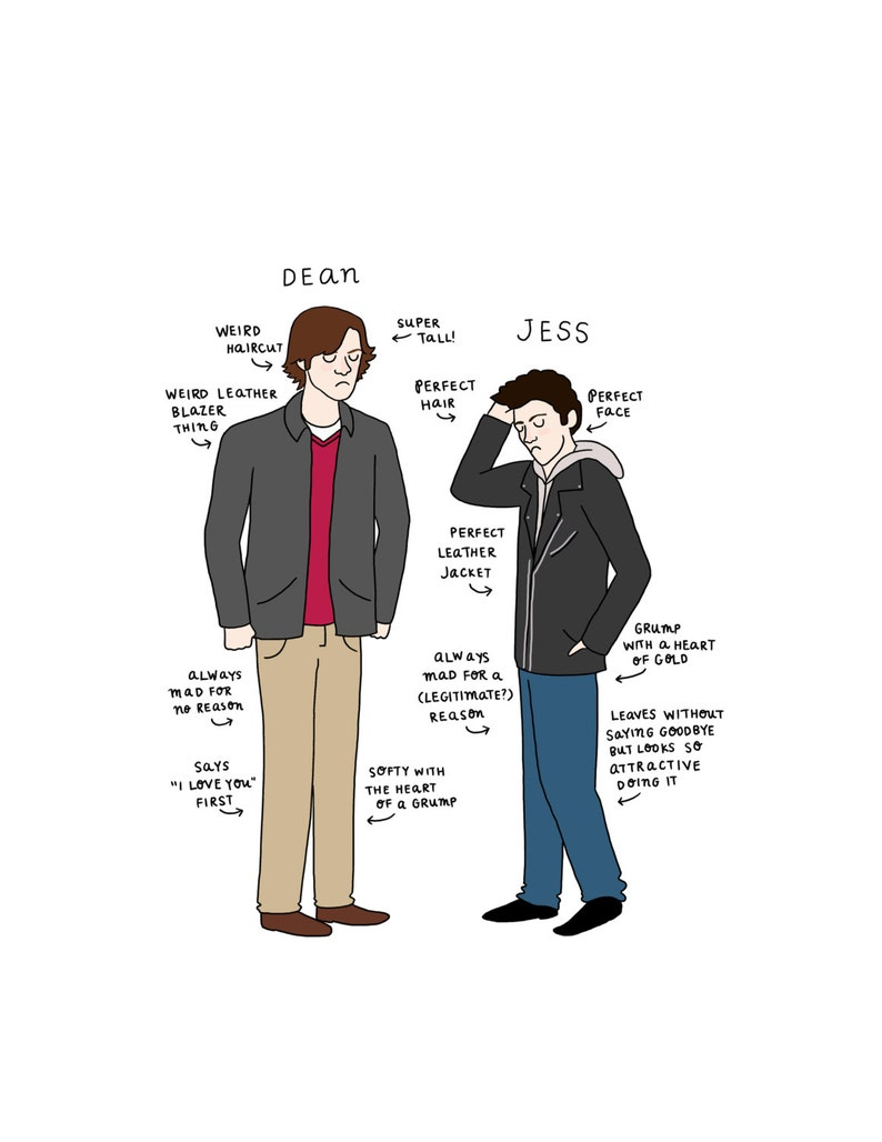 Dean vs. Jess Print   Hand-Illustrated image 0