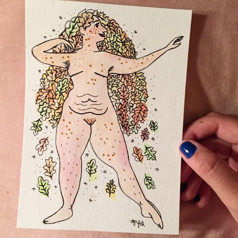 Oak Leaf Goddess Symbolic of Strength  Original Illustration image 0