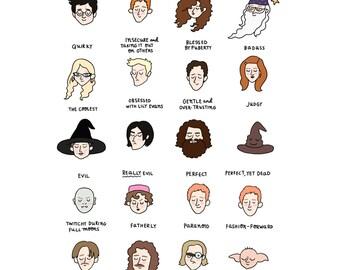 Harry Potter Mood Chart Print - Hand-Illustrated