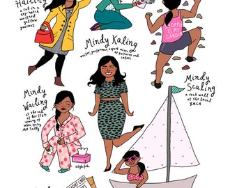 Rhymes With Mindy Kaling Print - 8.5x11 - Hand-Illustrated
