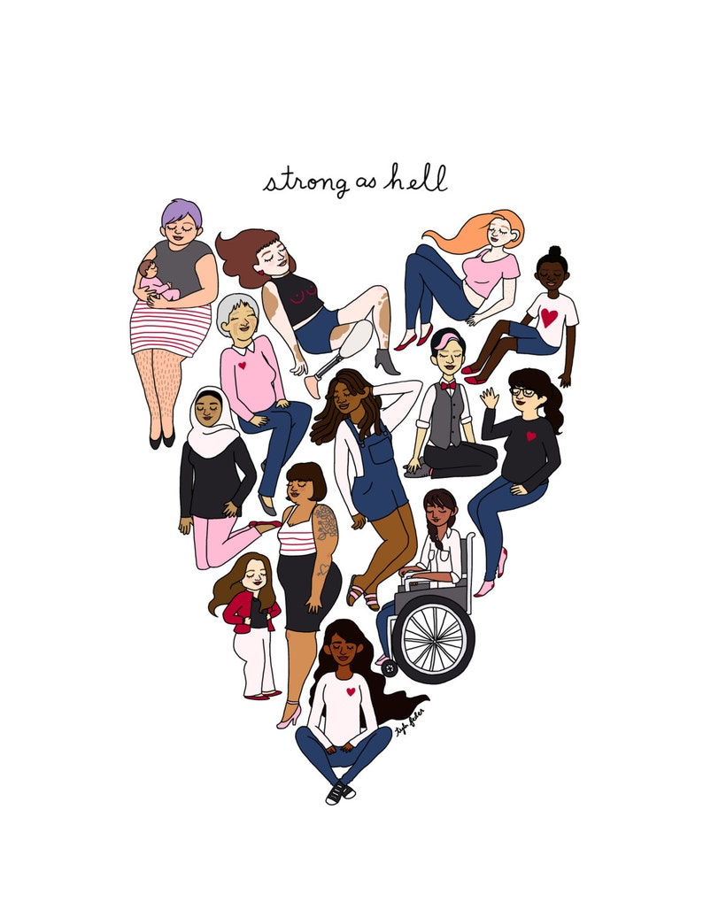 Strong as Hell Print  Hand-Illustrated image 0