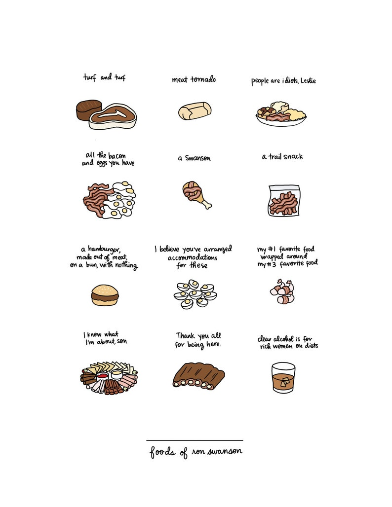 Foods of Ron Swanson Print  Hand-Illustrated image 0