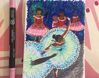 Leaning Dancer (Dancer in Green) by Dégas - Original Illustration