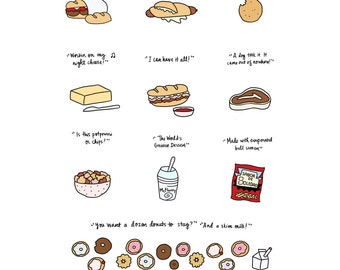 Foods of 30 Rock Print - Hand-Illustrated