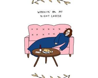 Night Cheese Print - Hand-Illustrated