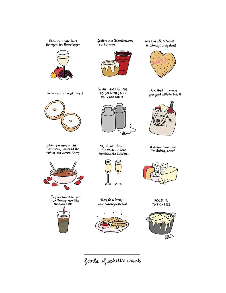 Foods of Schitt's Creek Hand-Illustrated image 0