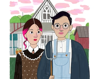 American Gothic by Wood - Intersectional Inktober Version - Print - Hand-Illustrated