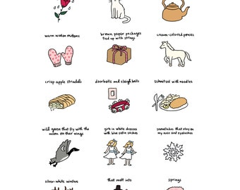 These Are a Few of My Favorite Things Print - Hand-Illustrated
