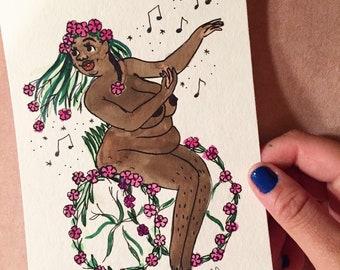 Sticky Catchfly Goddess, Symbolic of An Invitation to Dance - Original Illustration