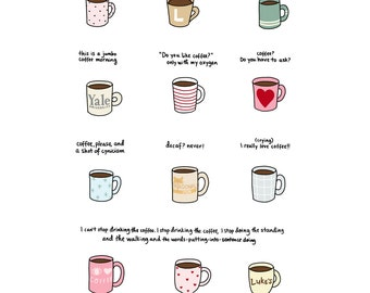 Coffee of Gilmore Girls Print - Hand-Illustrated