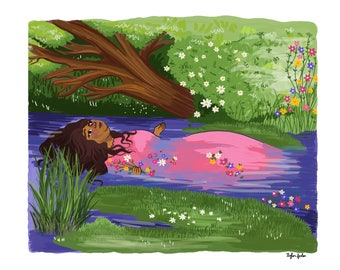 Ophelia by Millais - Intersectional Inktober Version - Print - Hand-Illustrated