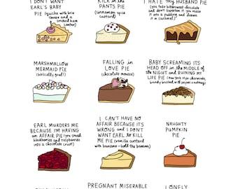 Waitress Pies Print - Hand-Illustrated