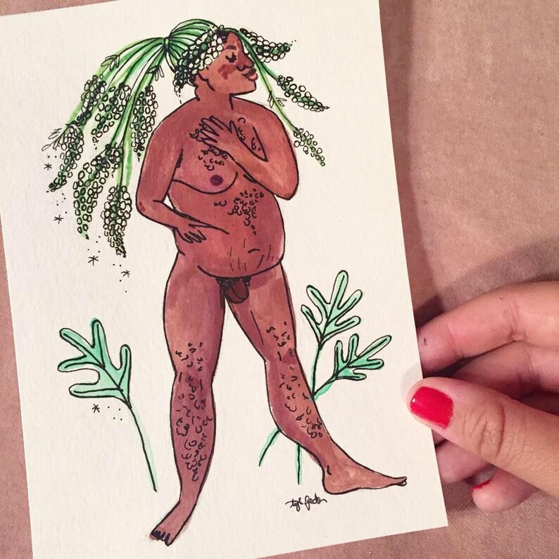 Mignonette Goddess Symbolic of Worth  Original Illustration image 0