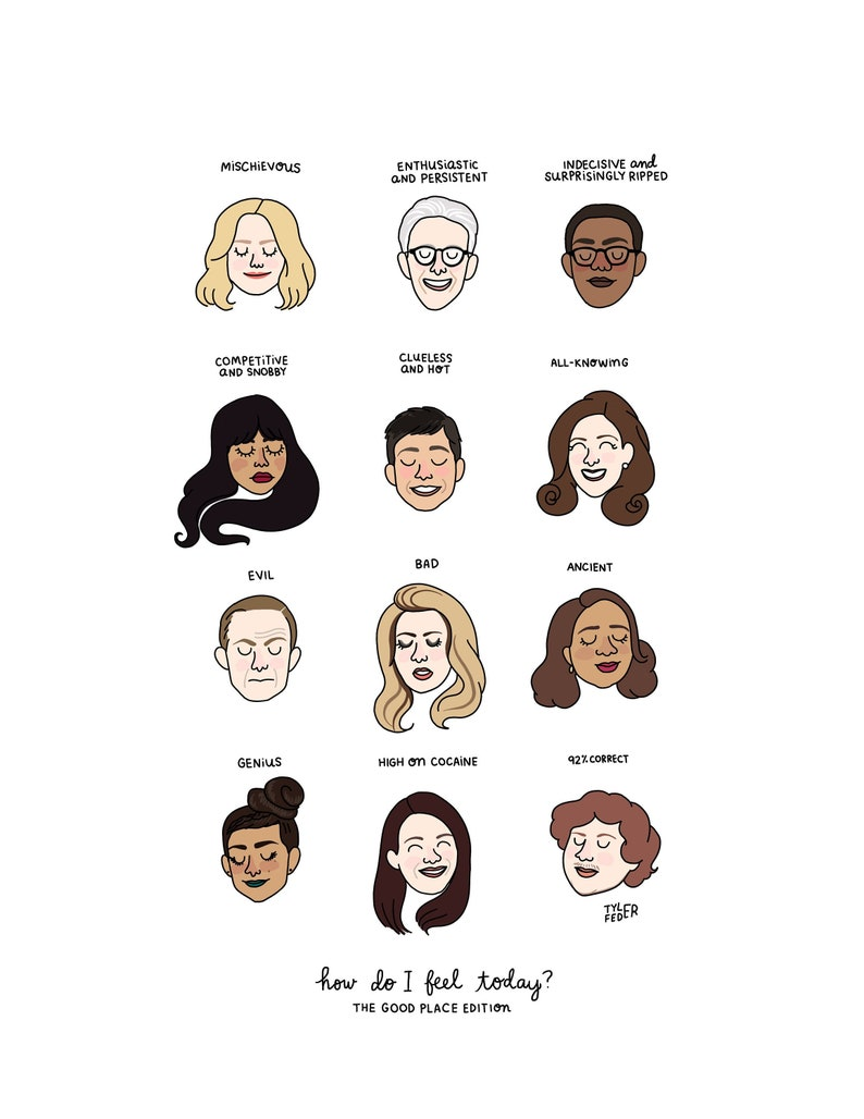 The Good Place Mood Chart  Digital Download image 0