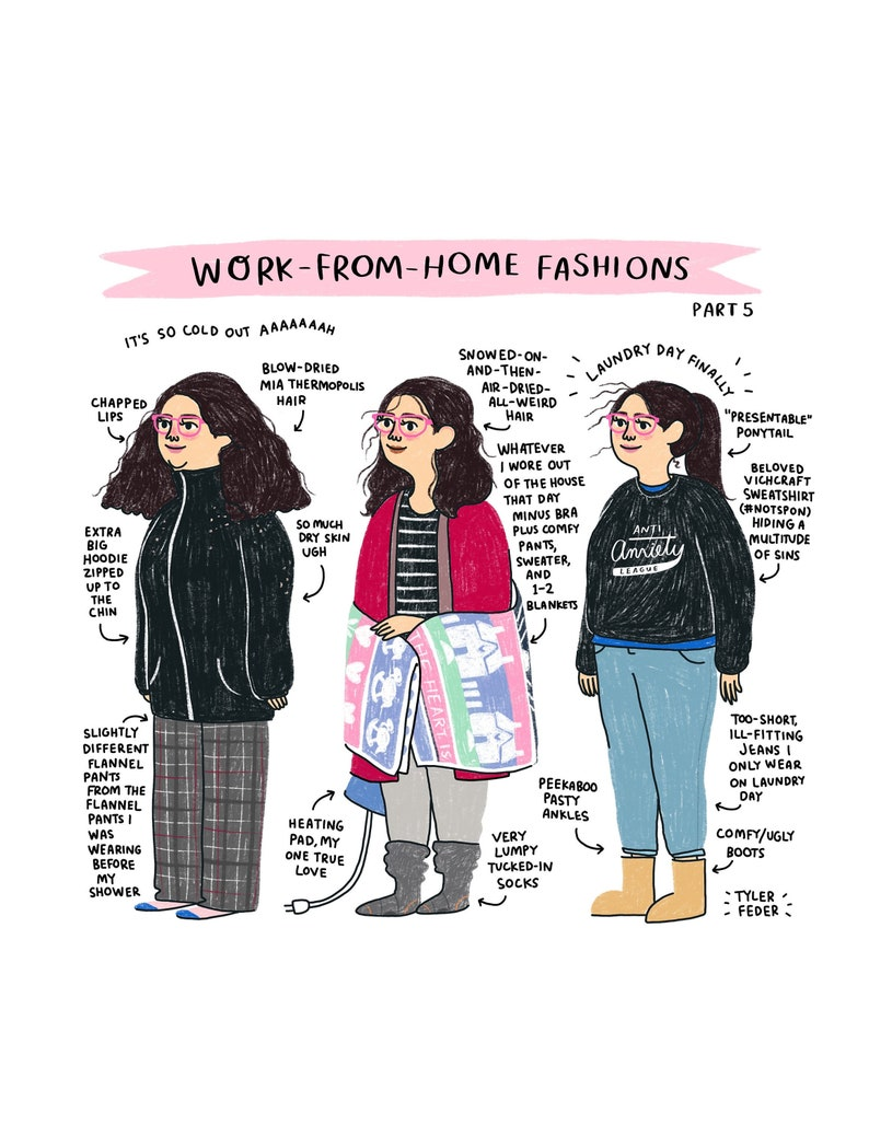Work From Home Fashions Part 5 Print  Hand-Illustrated image 0