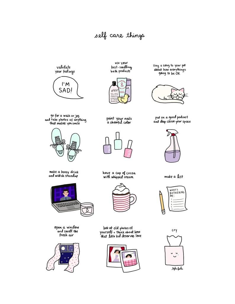 Self Care Print  Hand-Illustrated image 0