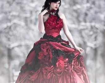 dfdb63bcd18 Red   Black Edwardian Ballgown