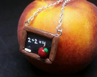 Teacher Necklace Chalkboard Necklace Teacher Jewelry Math Necklace Math Jewelry Teacher Gifts Polymer Clay Teacher Jewelry