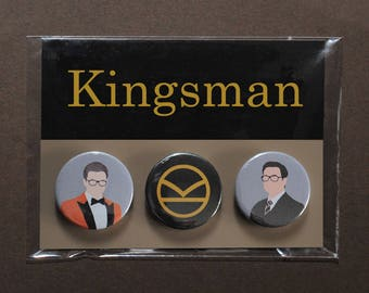 Kingsman button badges   Eggsy orange jacket   K logo pin   Harry Hart   Golden Circle   Manners Maketh Man   cosplay fandom prop replica