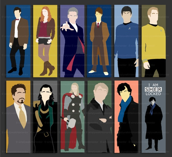 Fandom bookmark | Dr Doctor Who | 10th | 11th | 12th | Sherlock | John  Watson | Loki | Tony Stark | Thor | Captain Kirk | Mr Spock | geek