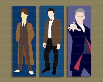 Doctor Who bookmark – 10th – 11th – 12th – BBC Dr Who fandom cosplay – David Tennant – Matt Smith – Peter Capaldi – choose design