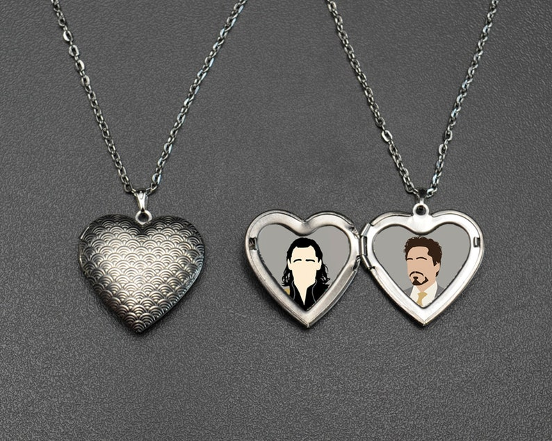 Frostiron OTP necklace | Loki x Tony Stark Iron Man locket | fandom cosplay  jewellery | prop jewelry